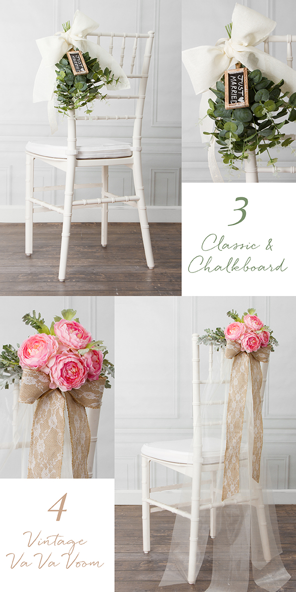 8 beautiful diy wedding chair decorations. Black Bedroom Furniture Sets. Home Design Ideas