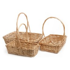 Basket Willow with handle Rectangle S/3 47x33x12cmH Natural