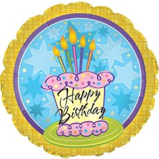 Balloon 18 Round Foil Happy Birthday Cake & Stars