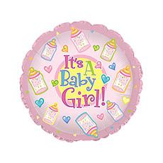 """Balloon 17"""" Round Foil Baby Girl Bottles"""