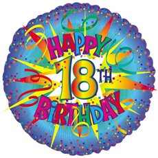 Balloon 18 Round Foil 18th Birthday Blue Burst