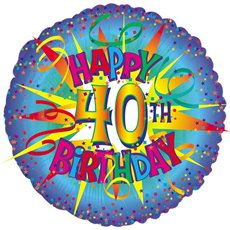 Balloon 18 Round Foil 40th Birthday Blue Burst