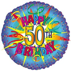 Balloon 18 Round Foil 50th Birthday Blue Burst