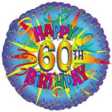 Balloon 18 Round Foil 60th Birthday Blue Burst