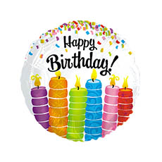 Balloon 18 Round Foil Happy Birthday Colorful Candles