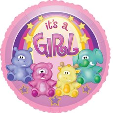 Balloon 18 Round Foil Zoo Baby Girl