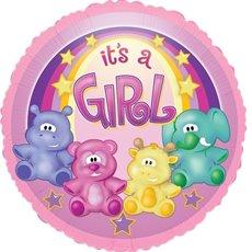 "Balloon 17"" Round Foil Zoo Baby Girl"