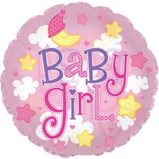 """Balloon 9"""" Round Foil Baby Girl Clouds Clear Pink"""