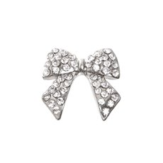 Corsage Bow with Tail Diamante 18mm Silver
