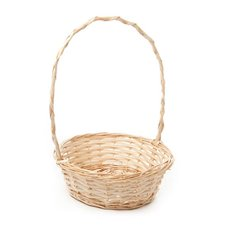 Basket Willow with handle Round PC 26Dx9cmH Natural
