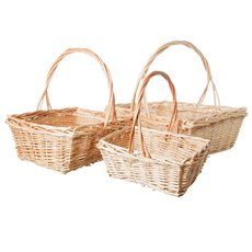 Basket Willow with handle Rectangle S/3 39x33x14cmH Natural