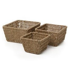 Planter Seagrass Square 21x21x12cmH S/3 Natural
