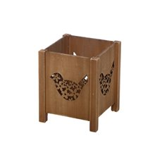 Wooden Planter with Bird Cut Out Brown (11x11x13.5cmH)