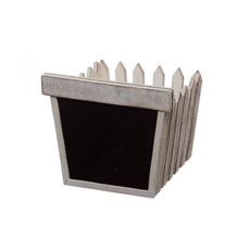 Wooden Fence Planter with Blackboard White (11x13x25cmH)