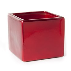 Ceramic Bondi Cube 13x13x12cmH Single Metallic Red