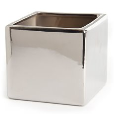 Ceramic Bondi Cube 13x13x12cmH Single Chrome Silver