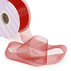 Ribbon Deluxe Organza Cut Edge 50mmx50m Burgundy