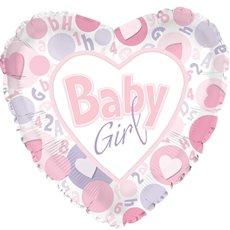 "Balloon 17"" Heart Foil Baby Girl Hearts"