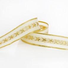 Ribbon Christmas Star Woven Edge 20mmx15m Gold