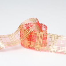 Ribbon Organza Astract Checks 50mmx10m Red