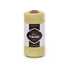 Bakers Twine 4ply 1mm X 219m Lemon/White