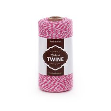 Bakers Twine 4ply 1mm X 219m Pink/White