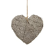 Aztec Fabric Heart Hanging (24cmH) Black White