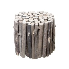 Wooden Stick Plinth Round Grey (20cmD)