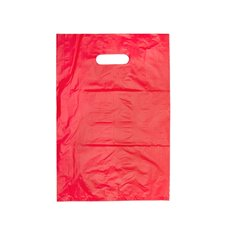 Plastic Bag Economy Die Cut Handle Red 380Hx255mmW Small