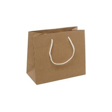 Kraft Paper Bag Striped Rope Handle Beige 17Hx22Wx10cmG S
