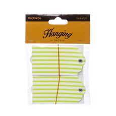 Hanging Gift Tags Stripes 5x9cmH pk20 Lime
