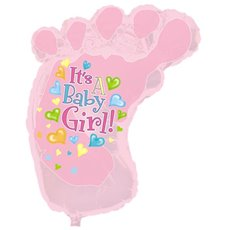 Balloon 34 Foot Shape Foil Its A Girl Baby Foot