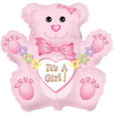 Balloon 32 Bear Shape Foil Its A Girl Bear