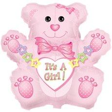 "Balloon 32"" Bear Shape Foil It's A Girl Bear"