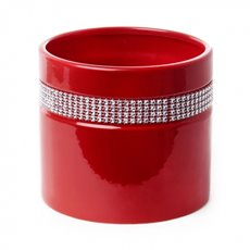 Ceramic Cylinder Modern Diamante Tiara 15x15x13cmH Red