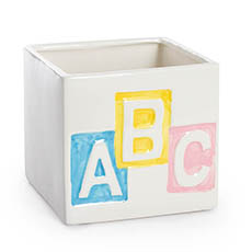 Ceramic Baby Cube 13x13x12cmH ABC W/ colour
