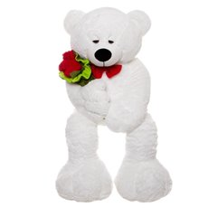 Harry Teddy Bear with Bouquet White (100cmHT)
