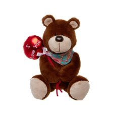 Teddy Bear with Red Balloon Dark Brown (20cm.HT )