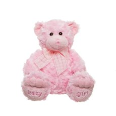 """Teddy Bear Georgie """"Baby Girl"""" Embroidered Foot Pink 25cmST"""