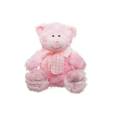 """Teddy Bear Georgie """"Baby Girl"""" Embroidered Foot Pink 20cmST"""