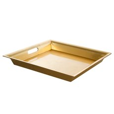 Plastic Square Tapered Tray w/Handles Gold (43x43x5cmH)
