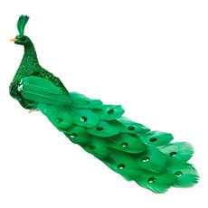 Bird Peacock Feathers W/Clip 22cm PC Lime