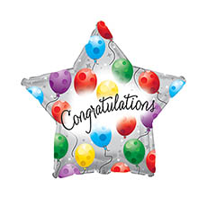 "Balloon 17"" Star Foil Congratulations Silver Twinkling Star"