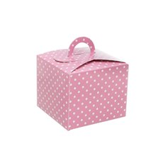 Dotted Cupcake Holder 4 Pack Pink (9.5x9.5x8cmH)