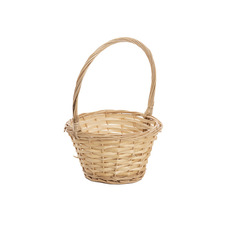 Basket Willow Flower Girl Oval 20x17x11cmHx27cmH Natural