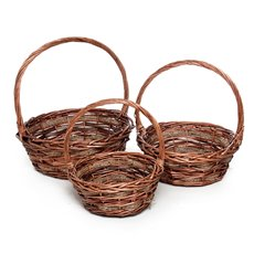 Basket Willow DUO Round w/Handle 35Dx14cmH Natural Set 3