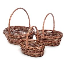 Basket Willow DUO Oval w/Handle 38x32x14cmH Natural Set 3