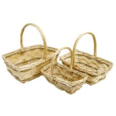 Basket Willow DUO Rect. Handle 36x36x14cmH Natural Set 3