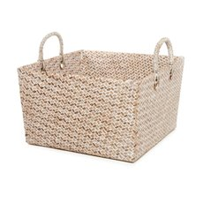 Basket Storage Square w/Handles PC 29x29x17.5cmH Natural