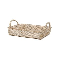 Basket Storage Rectangle w/Handles PC 28x19x6cmH Natural